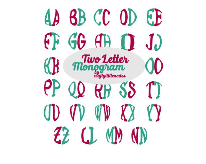 Two Letter Monogram (no middle name) Circle Alphabet SVG STUDIO Ai EPS Scalable Vector Instant Download Commercial Use Cricut Silhouette
