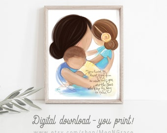 INSTANT DOWNLOAD Mother and Children for Girl's or Boy's Room Decor, Gift for Mother's Day, Baby Shower Gift, Printable Art