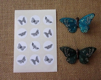 Moth Butterfly Stickers One Inch Round Seals