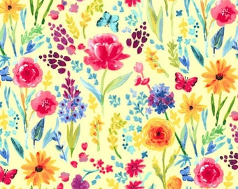 Garden Party Meadow Menagerie in Yellow Fabric by Michael Miller