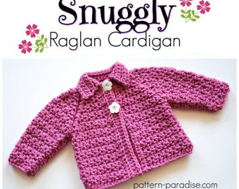 Crochet Pattern, Baby and Toddler Cardigan Sweater