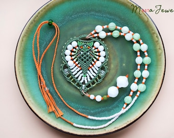 Bohemian long necklace, macrame, micro-macrame jewelry, layer, glass, beaded, beadwork, unique, boho chic, beadwoven, white green orange