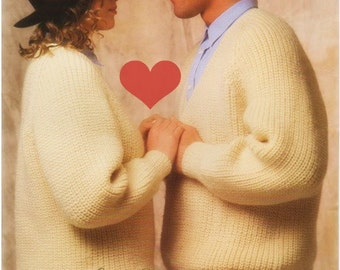 Aran Sweater Pattern Womens Sweater Mens Sweater Vintage 70s Knitting Pattern Top Pattern His and Her