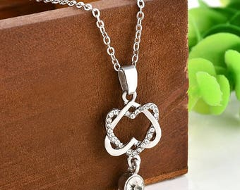 Double Heart Infinity Necklace, Infinity Knot Necklace With rhinestone accent, Gift For Women, rose gold heart necklace, fast shipping
