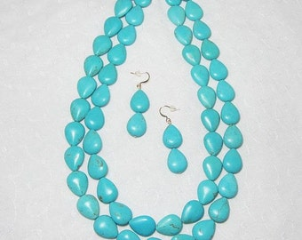 Necklace Earrings Set Double Strand Blue Puffed Teardrops Necklace and Earrings