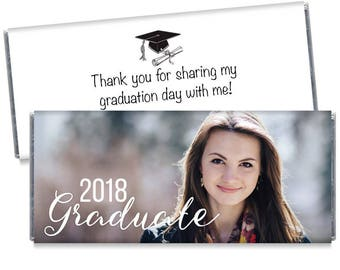 Set of 12 - 2018 Graduate Candy Bar Wrappers - Personalized 2018 Graduation Chocolate Favors