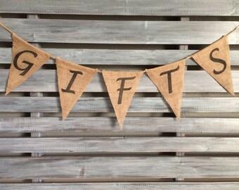 Gifts Burlap Banner, Wedding Burlap Banner, Gift Banner, Party Banner, Wedding Banner, Birthday Banner, Gifts Sign