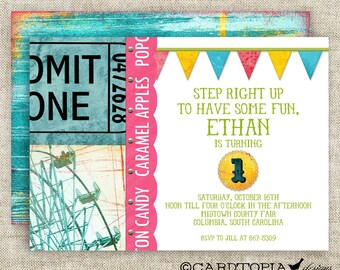 CARNIVAL CIRCUS Boy BIRTHDAY Invitation Party Digital Printable Cards - 81438977