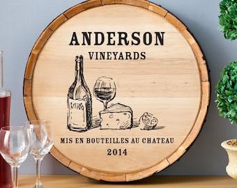 Wine Barrel Home Decor Sign Personalized