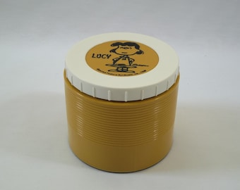 PEANUTS Lucy Thermos Insulated Jar Soup Model 1155 Vintage 1969 USA Schulz, Mustard Yellow, School Lunch Container