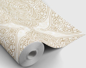 Boho Chic Damask Peel and Stick Wallpaper | Peel and Stick Temporary Wallpaper | Removable Wall Sticker