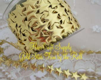 GOLD of SILVER STAR trim, 15 Yard roll. Make headbands for all ages, halo, crafts, puffy stars trim, gold stars, polyester stars, Hair Craft