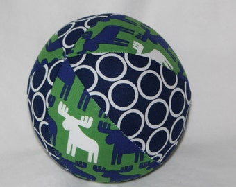 Green Woodland Pals Moose Fabric Boutique Ball Rattle Toy