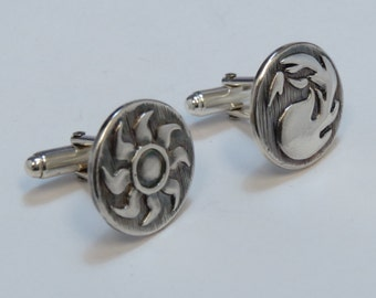 Magic The Gathering Inspired Cufflinks with White and Red Mana symbols