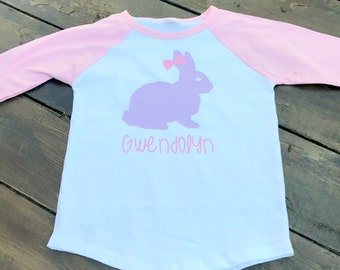 Easter Shirt/ Girlie Easter Shirt/ Bunny Easter Shirt/ Personalized Easter Shirt/ Pink Easter Shirt/ Raglan Style Shirt/ Easter Bunny Top