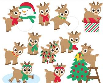 christmas clipart reindeer clip art digital - Playful Reindeer Digital Clip Art - BUY 2 GET 2 FREE