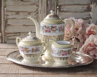 Noritake main porcelaine peinte 3 pièce Pot ensemble crémier sucre bol Tea Party Set mariage Antique thé Service à thé ensemble réglage de la Table