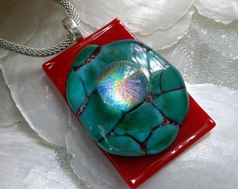 Unique Dichroic Fused Glass Pendant, Red, Turquoise, Green, Silver and Dichroic Glass, Crackle Glass, Large Turquoise Stone Glass Pendant