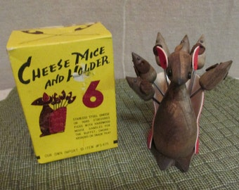 Vintage 1960's CHEESE MICE HOLDER Hardwood Mouse With 6 Mice Stainless Steel Picks In Original Box