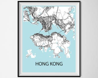 Hong kong travel poster vintage oriental advert art print hong kong map poster print black and white gumiabroncs Choice Image
