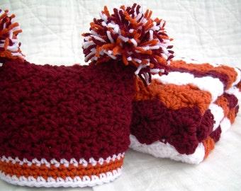 Baby Gift Set, Crochet Baby Travel Blanket and Hat Gift Set, Virginia Tech Hokies, White, Maroon, and Orange