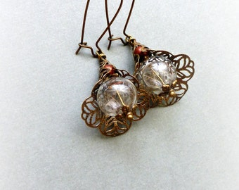 Filigree cap dandelion earrings  Make a wish nature jewelry Botanical gift for her wedding  Gift for girlfriend Mother's day gift