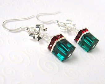 Emerald Green Cube Earrings, Christmas Package Earrings with Bows,Green and Red Holiday Earrings, Gift for Her