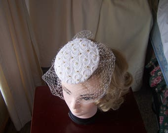 Ivory,red or blue satin covered with white guipure lace button beret style brides fascinator with veil