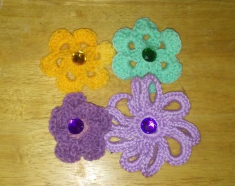Crochet Floral Hair Clips