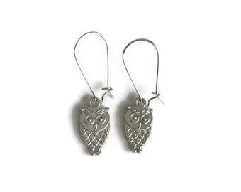 Silver Owl Earrings - Owl Jewelry - Simple Everyday Jewelry - Silver baby owl Earrings - silver drop earrings