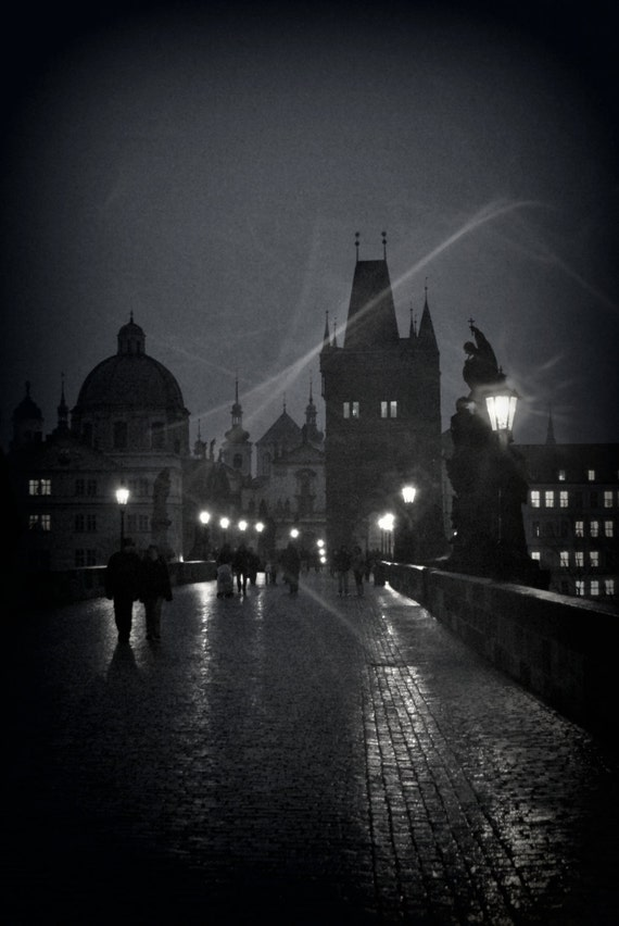 "European Portrait Photograph  of a Prague Bridge in the spooky rain 18"" x 12"""