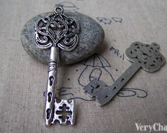 10 pcs of Antique Silver Filigree Swirly Key Pendants Charms 22x55mm A2829