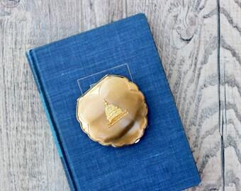 Vintage Elgin American Washington DC Compact / Washington DC Gift / Gold Compact / Washington DC Souvenir / Nation's Capital Memento
