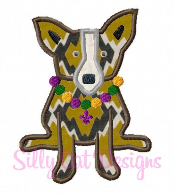 Mardi Gras Dog Applique  Design