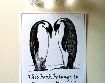 Booklabels Penguins in Love Wedding Gift 50 Personalized Ex Libris Bookplates