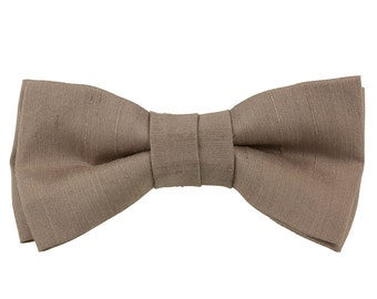 Handmade Brown Silk Shantung Clip-on Bow Tie  from Vintage Silk Fabric Bowtie