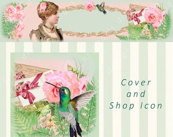Summer Ferns, Cover banner and Shop Icon, Instant download, blank file, roses, ferns, vintage lady, humming bird, envelopes, pk peach, sage