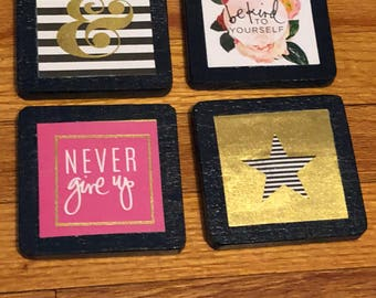 Set of four wooden handmade coasters