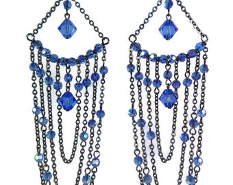 The Sapphire Queen - Blue/Grey Earrings - Swarovski Crystal/Gunmetal Chain - Mishimon Designs