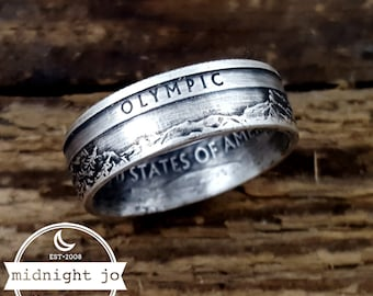 Olympic Coin Ring - Silver National Park Quarter Ring - Silver Coin Ring - Olympic National Park Quarter Rings - Silver Wedding Rings