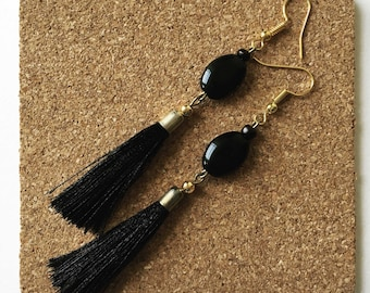 Black bead and tassel earrings