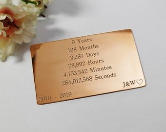 Copper wallet insert 9 year gift for women anniversary gifts for her custom engraved wallet insert for 9 year anniversary gift for wife