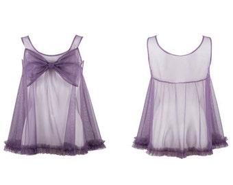 Violet Purple Nylon Mesh Ruffle Babydoll With Huge Bow Detail 60's Style Babydoll Nightie Very Retro Very Bridgette Bardot