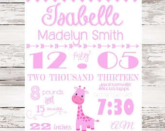 Custom Birth Print: Nursery Decor, Birth Announcement, Nursery Wall Art,