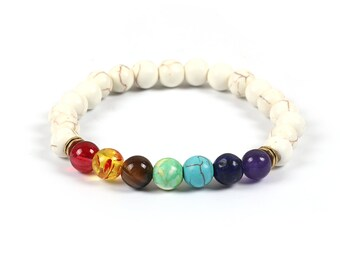 Chakra, Yoga, Meditation,  Aromatherapy and Healing Elasticated Fit all Bracelet - Multi White Howlite Gemstones with all seven Chakras