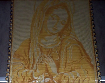 "Bonnie's Crochet Cotton Thread item Holy Virgin 18"" by 23.5"".. Art Work ..Wall Decor... WallHanging..Wall Art ..  OOAK"
