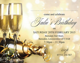 PERSONALISED BIRTHDAY PARTY Invites Champagne Glasses Invitations