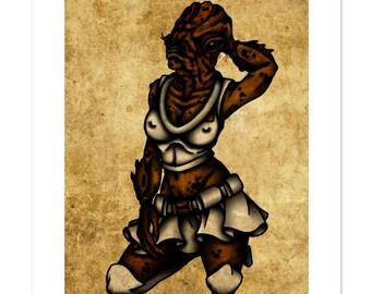 Admiral Ackbar, Star Wars, Pinup, Neo-Traditional Tattoo Flash, Art Print 12x16