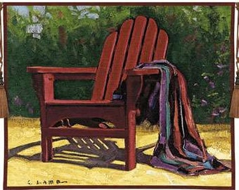 "Red Chair - 53""x45"" Tapestry Wall Hanging"