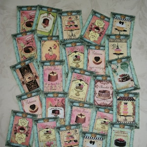 MINIATURES  - Set of 25 Cupcakes, French Pastries etc.- Whimsical - Tiny - Your choice of Cardstock or Stickers - A 36